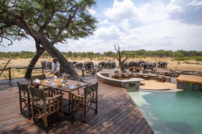 Somalisa Acacia_Elephants drinking_lunch setup